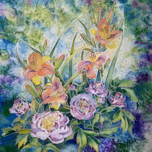 paveikslas ant šilko su įvairiaspalvėmis gėlėmis