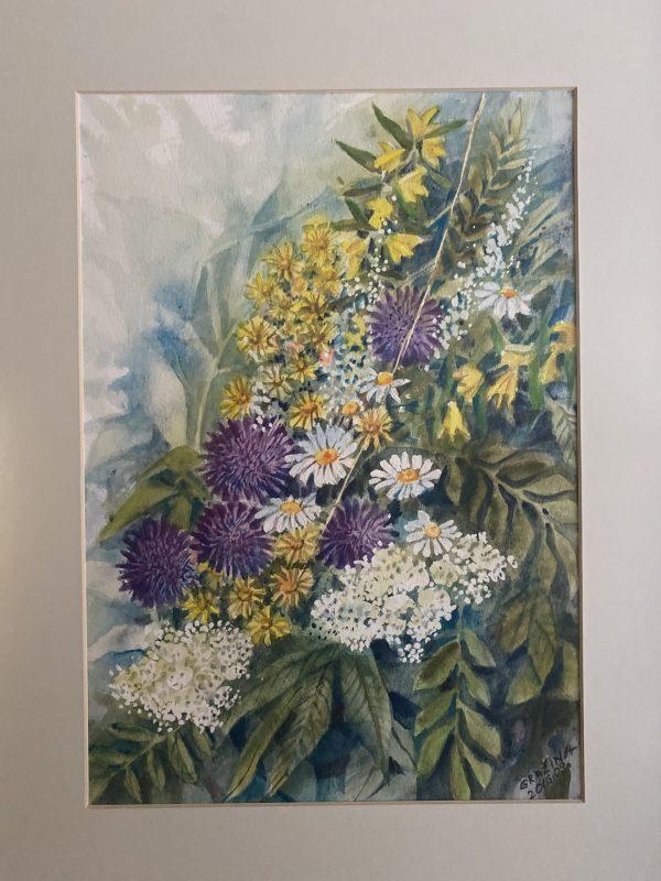 paveikslas tapytas akvarele su įvairiaspalvėmis vasariškomis gėlėmis