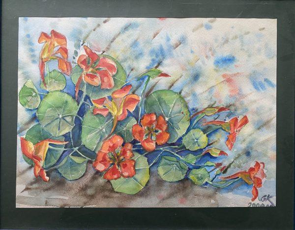 paveikslas tapytas akvarele su oranžinės spalvos gėlėmis ir tamsiu paspartu