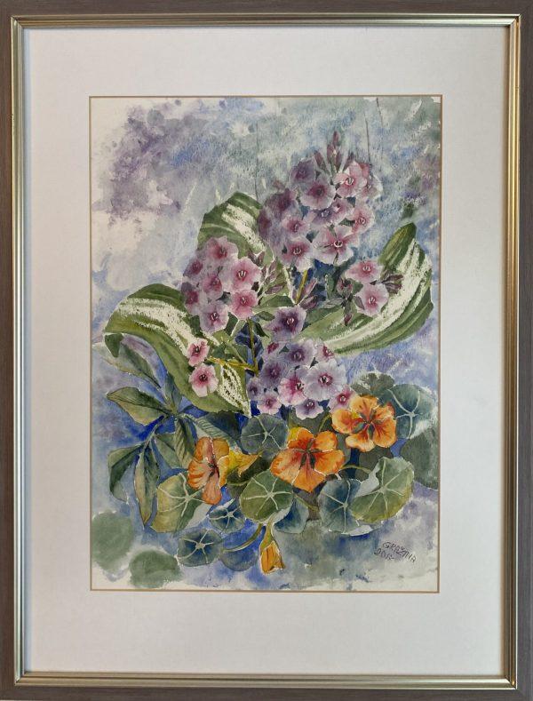 paveikslas su akvarele tapytomis pastelinių spalvų gėlėmis šviesiame fone