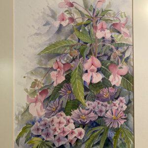 akvarele tapytas paveikslas su rausvos spalvos gelemis ir įrėmintas su šviesios spavos paspartu