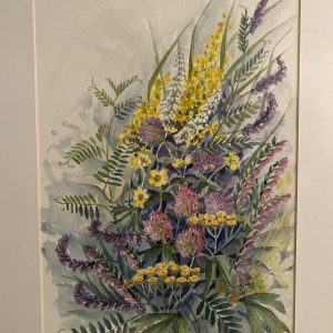 akvarele tapytas paveikslas su įvairiaspalvėmis vasaros laukų gėlėmis