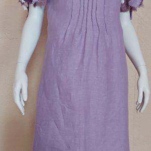 violetinė lininė suknelė violetinės spalvos